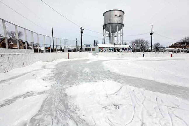 Snow covers the ice at the East End Community Centre rink on Wednesday.