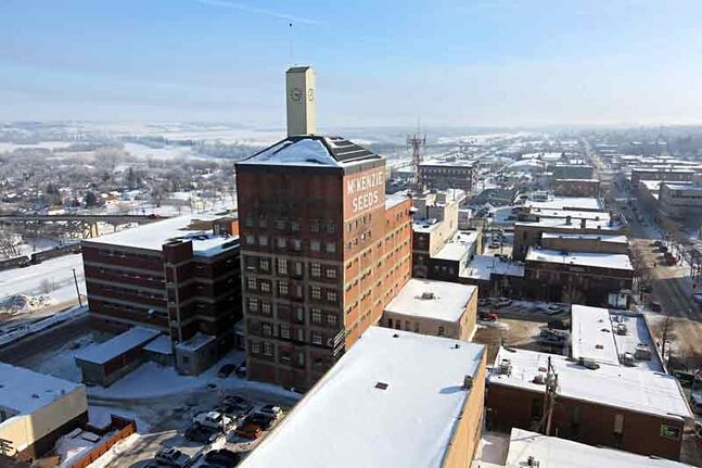 In this February photo, the McKenzie Seeds building stands out over downtown Brandon as seen from the roof of Scotia Towers.