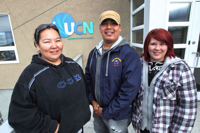 Samantha Sewap, Clinton Crate and Dallas Mihalicz are classmates in the Exploration Technician program at the University College of the North's Northern Manitoba Mining Academy, which opened one year ago in downtown Flin Flon