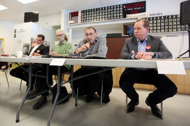 Political candidates in the upcoming federal by-election Cory Szczepanski of the NDP, David Neufeld of the Green Party, Frank Godon of the Libertarian Party and Rolf Dinsdale of the Liberal Party take turns addressing questions from the audience during the Candidates' Forum at the Brandon Friendship Centre on College Avenue on Tuesday afternoon. Conservative Party candidate Larry Maguire chose not to attend the forum.