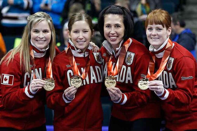 (From left) Jennifer Jones, Kaitlyn Lawes, former Brandon resident Jill Officer and Dawn McEwen will go to the Winter Olympics.