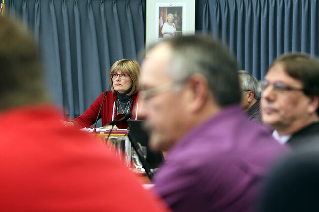Mayor Shari Decter Hirst listens in during the City of Brandon's 2014 budget deliberations at city hall on Friday.