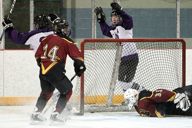 A pair of Vincent Massey Vikings players celebrate their first goal against Crocus Plainsmen goaltender Cody Murray during provincial playoff AAA/AAAA high school hockey action on Monday afternoon at the Optimist Arena.