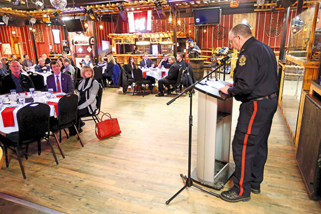 Brandon Crime Stoppers co-ordinator Const. Ron Burgess addresses guests at a luncheon for volunteers, sponsors and supporters 	at the Great Western Roadhouse on Wednesday.