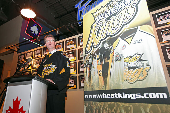 Manitoba Justice Minister Andrew Swan speaks during the unveiling of the Brandon Wheat Kings licence plate at the Canad Inns on Tuesday.