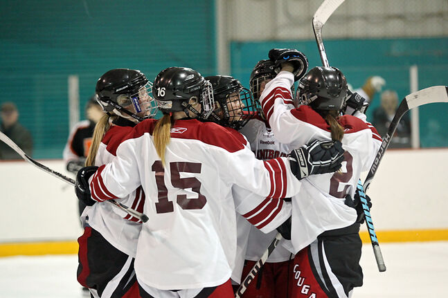 The ACC Cougars celebrate a first-period goal in their opening game of provincials Friday at Kinsmen Arena.