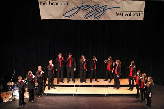 Students with the Steinbach Regional Secondary School Spectrum ensemble perform during the opening day of the Brandon Jazz Festival at the Western Manitoba Centennial Auditorium on Thursday afternoon. Over 160 schools and groups from across the province and as well as other provinces.