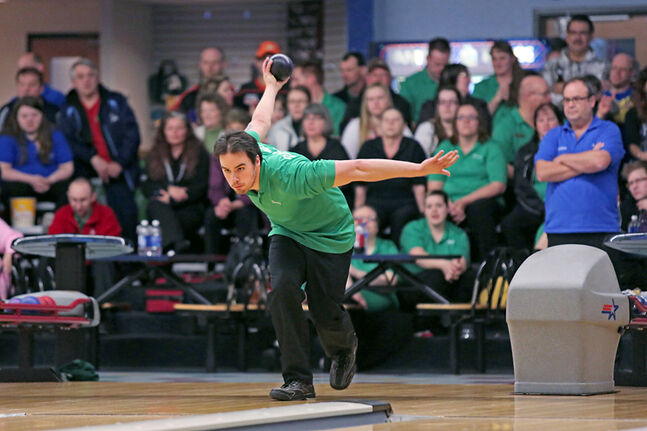Garry Hamm of Brandon throws a ball while on his way to winning the provincial 5-pin bowling singles championship at Thunderbird Bowl           on Saturday. Hamm defeated Darren Maxwell of Winnipeg to win the provincial title. Hamm will now advance to the 2014 Canadian Open       Championships, which will be held in Calgary from May 28-31.