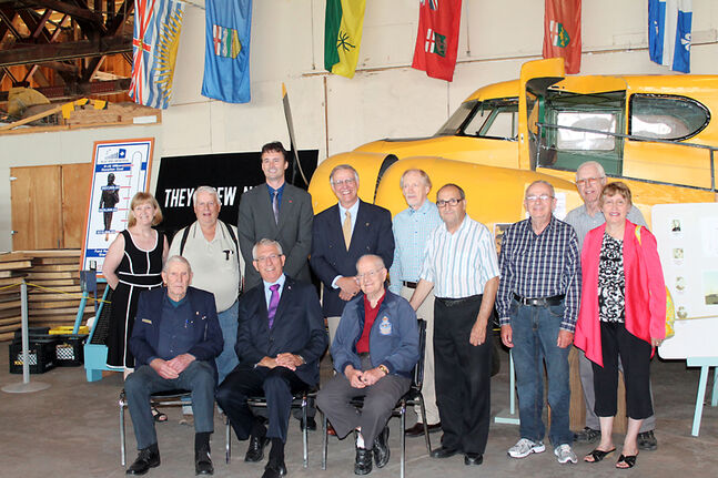 Brandon-Souris Conservative MP Larry Maguire (front centre) with members of the Commonwealth Air Training Plan Museum's board of directors. Maguire announced on Friday $112,000 in federal funding to help refurbish the museum's historic hangar.
