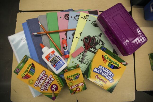 A variety of school supplies that students in the Brandon School Division will be using when they return to classrooms on Sept. 3.