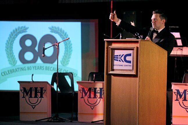 Bryan Podworny emcees the United Way of Brandon & District's 80th anniversary launch party at the Keystone Centre on Thursday evening.