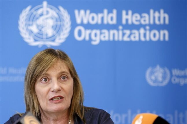 Marie-Paule Kieny, Assistant Director General of the World Health Organization,WHO, informs the media following a panel of medical ethicists to explore experimental treatment in the Ebola outbreak, at the headquarters of the WHO in Geneva, Switzerland, Tuesday, Aug. 12, 2014. (AP Photo/Keystone, Salvatore Di Nolfi)