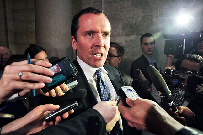 Opposition Leader Hugh McFadyen scrums after the NDP government tabled the 2012 Manitoba budget.