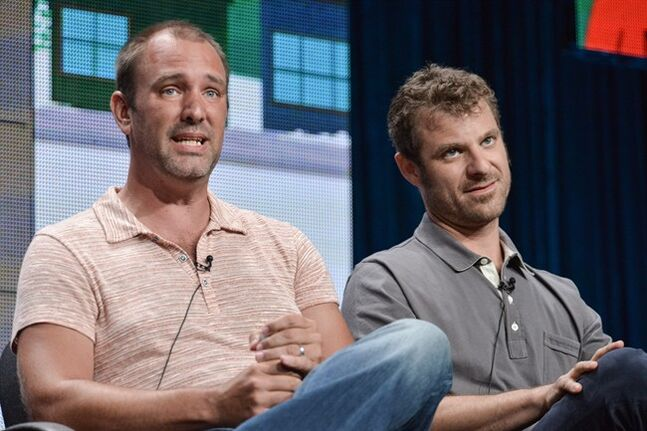 This July 12, 2014 photo shows writer/creators Trey Parker, left, and Matt Stone participating in the