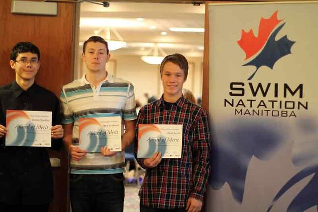 Brandon Bluefins swimmers Drew Cochrane (centre), Gabriel Jardine (left) and Iwan Levin (right).