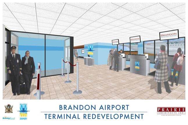 Proposed renovations at the Brandon airport terminal are seen in this conceptual drawing provided by the city.