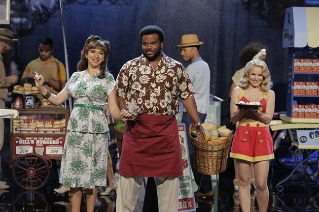This photo released by NBC shows, from left, Maya Rudolph, Craig Robinson, and Kristen Bell in a scene from