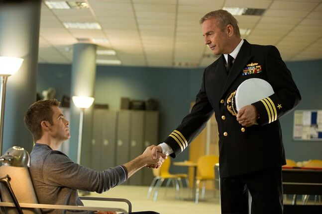 This image released by Paramount Pictures shows Chris Pine, left, and Kevin Costner in