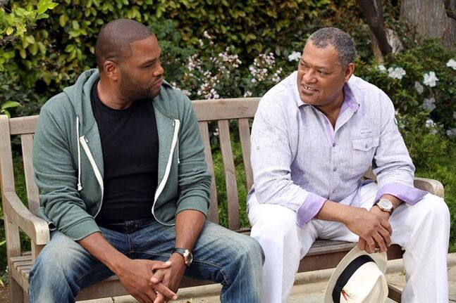 Andre 'Dre' Johnson (Anthony Anderson) and his dad (Laurence Fishburne) are pictured in the scene of the pilot episode of