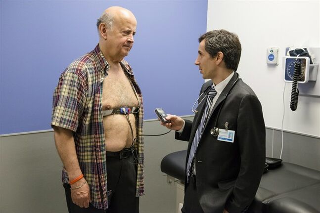 Patient Bedros (Peter) Kashkarian and Dr. David Gladstone are shown in a handout photo. A heart-rhythm disorder called atrial fibrillation is on the rise among older Canadians, but standard testing often doesn't detect the condition, leaving patients untreated and prone to potentially disabling or fatal strokes. THE CANADIAN PRESS/ HO/Doug Nicholson/MediaSource