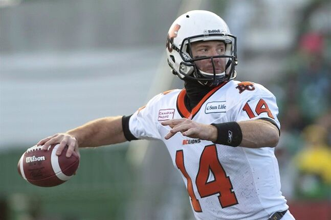 BC Lions quarterback Travis Lulay attempts a pass against the Saskatchewan Roughriders during first half CFL football action in the Western Semi-Final in Regina on November 10, 2013. B.C. Lions starting quarterback Travis Lulay's recovery from off-season shoulder surgery appears to be on schedule as he takes part in the team's mini-camp. But with off-season signing Steven Jyles absent and his future in question, the Lions are lacking a backup with CFL experience. THE CANADIAN PRESS/Liam Richards