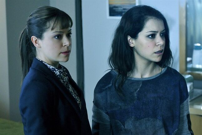 Tatiana Maslany, left and right, appears in the seventh episode of the second season of
