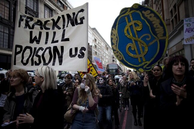 Britons protest against the practice of fracking in London, on March 19, 2014. THE CANADIAN PRESS/AP, Matt Dunham