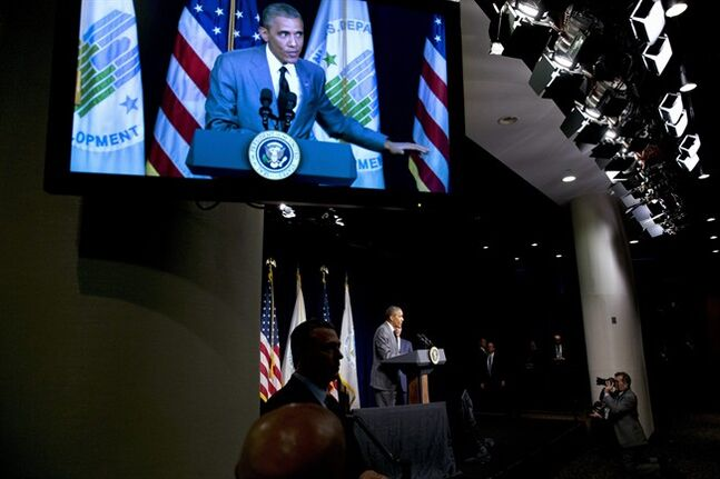 President Barack Obama speaks at the Department of Housing and Urban Development in Washington, Thursday, July 31, 2014. (AP Photo/Jacquelyn Martin)