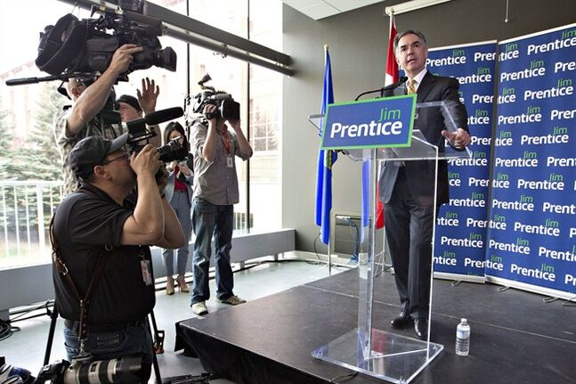 Former federal cabinet minister Jim Prentice officially launches his campaign for the Alberta Progressive Conservative leadership in Edmonton on Wednesday, May 21, 2014. THE CANADIAN PRESS/Jason Franson