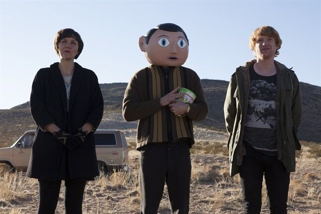 "Maggie Gyllenhaal, Michael Fassbender (centre) and Domhnall Gleeson in a scene from ""Frank,"" opening in Toronto and Vancouver Friday. THE CANADIAN PRESS/ho-Video Services Corp."