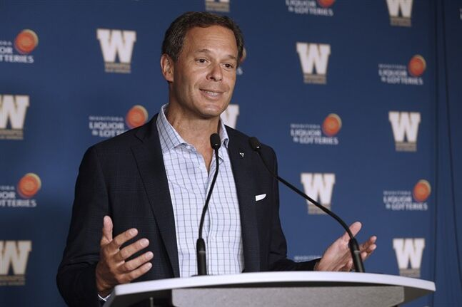 CFL Commissioner Mark Cohon speaks to media prior to CFL action in Winnipeg Thursday, July 3, 2014. THE CANADIAN PRESS/John Woods