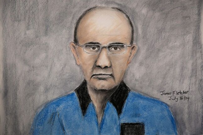 A courtroom sketch of Douglas Garland, charged with murder in the disappearance of a Calgary boy and his grandparents, in Calgary, Wednesday, July 16, 2014. THE CANADIAN PRESS/Janice Fletcher
