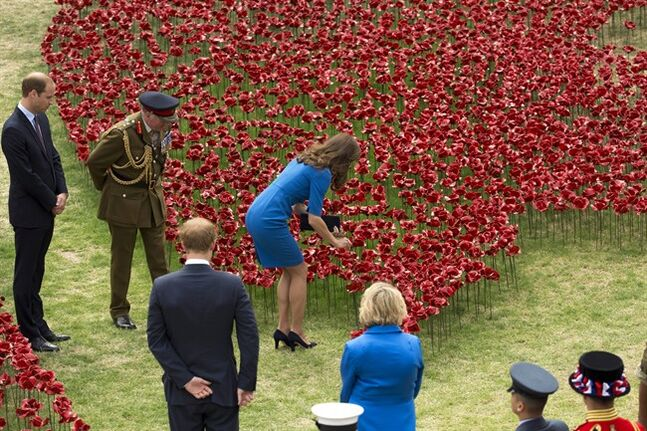 Kate, the Duchess of Cambridge, plants a ceramic poppy watched by her husband Britain's Duke of Cambridge Prince William, left, Prince Harry, third left, General the Lord Dannatt, second left, Constable of the Tower of London and a Yeoman Warden guard, bottom right, commonly known as a Beefeater, as they visit a ceramic poppy art installation by ceramic artist Paul Cummins entitled 'Blood Swept Lands and Seas of Red' for its official unveiling in the dry moat of the Tower of London in London, Tuesday, Aug. 5, 2014. Their visit to the work in progress installation, which currently consists of approximately 120,000 ceramic poppies and will finish with 888,246 poppies, was held Tuesday to mark the centenary of World War I. The final ceramic poppy will be placed on Armistice Day on November 11, with each poppy representing a British and Commonwealth military fatality from World War I. (AP Photo/Matt Dunham)