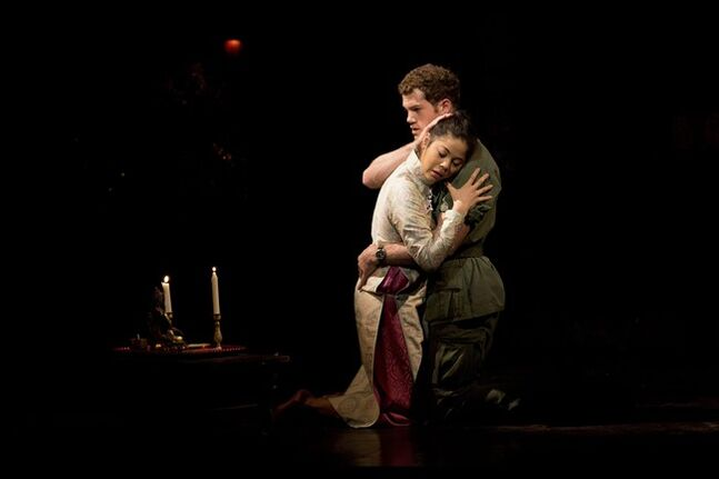 Eva Noblezada, left, from Charlotte, NC in the U.S. who plays Kim, and Alistair Brammer, from Britain, who plays Chris perform the