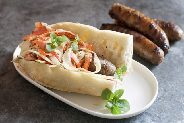This June 9, 2014 photo shows triple fennel sausage sandwiches in Concord, N.H. (AP Photo/Matthew Mead)
