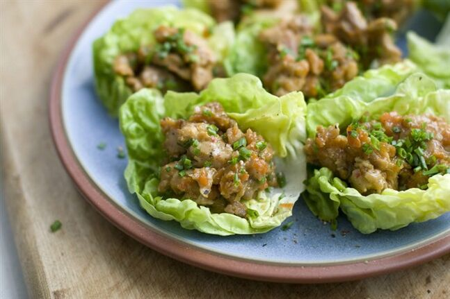 This Feb. 3, 2014 photo shows teriyaki chicken lettuce wraps in Concord, N.H. (AP Photo/Matthew Mead)