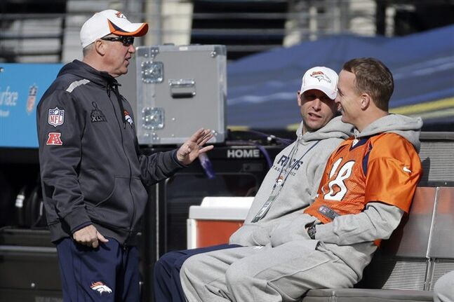 Denver Broncos head coach John Fox, left, talks with quarterback Peyton Manning (18) in MetLife Stadium on Saturday, Feb. 1, 2014, in East Rutherford, N.J. The Broncos are scheduled to play the Seattle Seahawks in the NFL Super Bowl XLVIII football game Sunday. (AP Photo/Mark Humphrey)