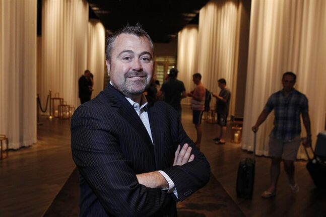 Matthew Chilton, general manager at Delano Las Vegas hotel, poses for a portrait at the hotel lobby at Delano Las Vegas Friday, Aug. 29, 2014. The hotel scheduled its official reopening for Tuesday, Sept. 2 . after an $80 million renovation of the rooms and lobby. (AP Photo/Las Vegas Review-Journal, Erik Verduzco) LOCAL TELEVISION OUT; LOCAL INTERNET OUT; LAS VEGAS SUN OUT