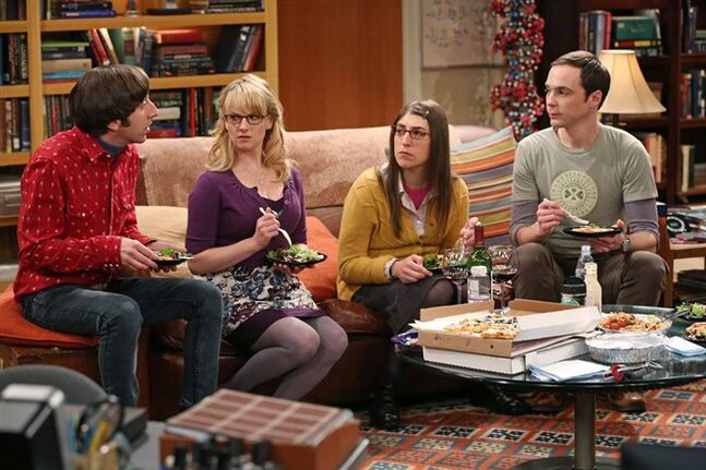 FILE - This file image released by CBS shows, from left, Simon Helberg, Melissa Rauch, Mayim Bialik and Jim Parsons in a scene from