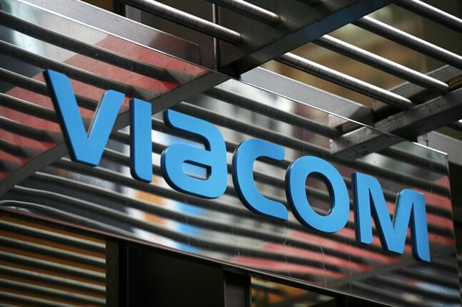 FILE - In this Jan. 19, 2010, file photo, the entrance to Viacom's headquarters is shown in New York. Viacom Inc. reports quarterly earnings on Thursday, Jan. 30, 2014. (AP Photo/Mark Lennihan, File)