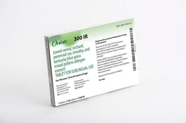 This product image provided by Stallergenes shows the packaging for Oralair, a grass pollen tablet. The drug could become popular with patients who dislike needles or can't make frequent trips to the allergist _ key reasons only about 5 percent of U.S. patients who would benefit from allergy shots get them. (AP Photo/Stallergenes)