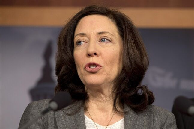 FILE - In this Dec. 6, 2012 file photo, Sen. Maria Cantwell, D-Wash. speaks during a news conference on Capitol Hill in Washington. On July 30, 2014, Cantwell, chairwoman of the Senate Committee on Small Business & Entrepreneurship, introduced legislation that would make it easier for women-owned companies to get loans and government contracts. (AP Photo/Jacquelyn Martin, File)