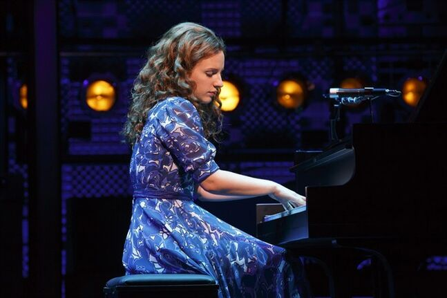 This image released by the The O+M Co. shows, Jessie Mueller as Carole King in Beautiful - The Carole King Musical on Broadway at the Stephen Sondheim Theater. (AP Photo/The O+M Co., Joan Marcus)