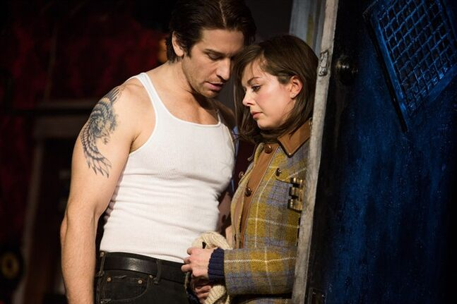 This image released by Polk and Co. shows Margo Seibert, right, and Andy Karl during a performance of