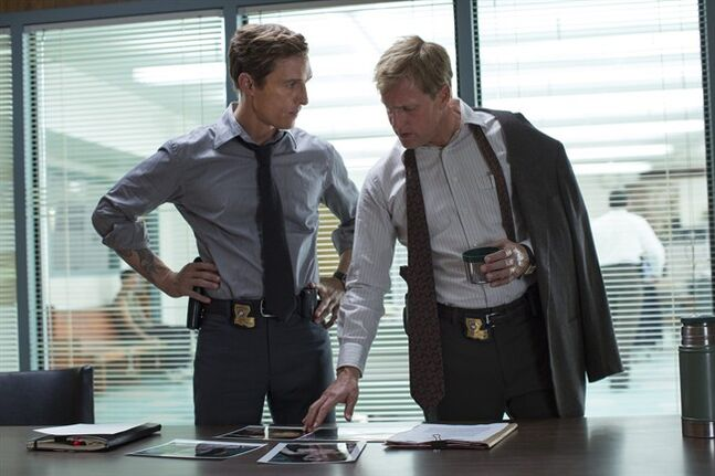This image released by HBO shows Matthew McConaughey, left, and Woody Harrelson from the HBO series