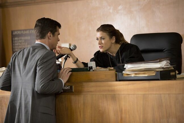 This image released by NBC shows John Ducey, left, and Kate Walsh in a scene from