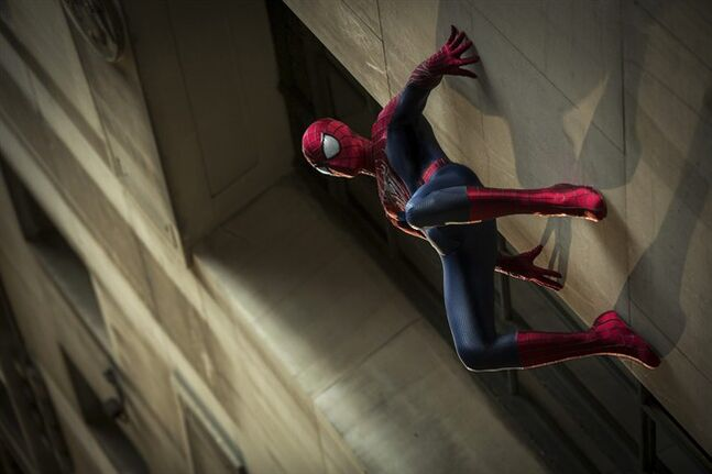 In this publicity photo released by Sony Pictures Entertainment, Andrew Garfield stars as Spider-Man in Columbia Pictures'