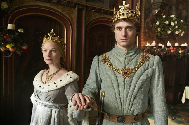 This publicity image released by Starz shows Rebecca Ferguson, left, and Max Irons, in