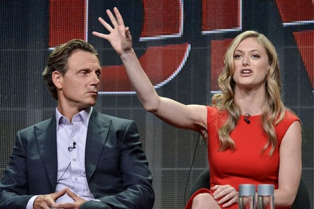This July 11, 2014 photo shows Tony Goldwyn, left, and Marin Ireland during the