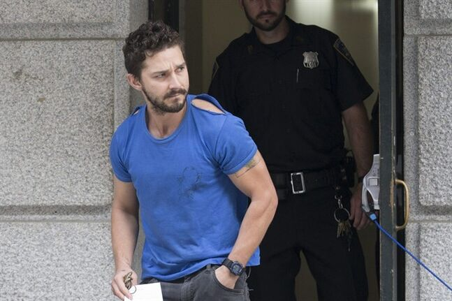 Actor Shia LaBeouf leaves Midtown Community Court after being arrested the previous day for yelling obscenities at the Broadway show